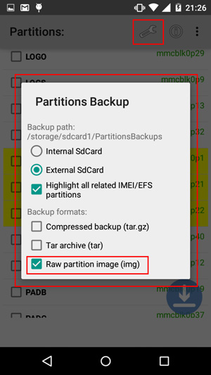 PartitionsBackup-settings